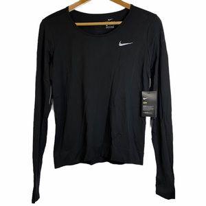 Nike Dri-Fit Long Sleeve Thumb Holes Black Top  L
